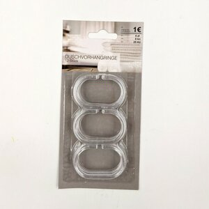 12 Stück Duschvorhangringe, ca. 6 x 4 x 0,5 cm, Kunststoff, transparent