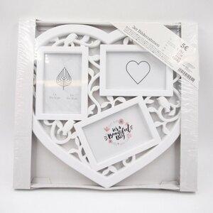 3er Bilderrahmen im Herzform Bilder Fotos Herz Hochzeit, weiß