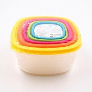 5 Stück Frischhaltedosen/Brotdosen in verschiedenen Größen, Kunststoff, bunt