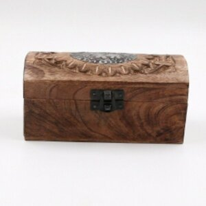"""Aufbewahrungsbox """"Holztruhe"""" Vintage mit Klappdeckel, ca. 15,5 x 7,5 x 7,3 cm"""