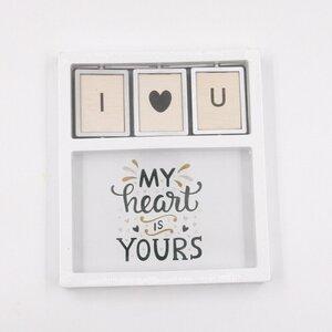 "Bilderrahmen ""I love you"", ca. 17 x 19,5 x 2,5 cm, Holz, weiß"