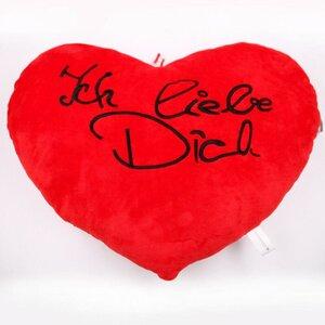 """Kissen Herzform """"Ich liebe dich"""", ca. 60 cm, 100 % Polyester, rot"""