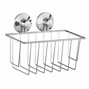 Metallkorb für Badezimmer/Dusche, rechteckig mit Saugnäpfen, 20 x 10,5 x 10cm