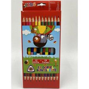 12 Stück Doppel-Buntstifte, 24 Farben, Holz