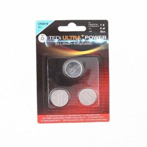 3er-Pack Knopfzellen, CR2016, 3V-Lithium-Knopfzelle