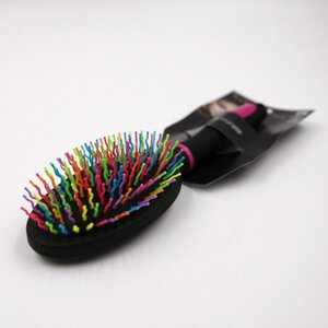 Haarbürste schwarz mit bunten Borsten, Kunststoff