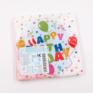 "20er-Pack Party-Servietten / Papierservietten Einweg ""Happy Birthday"", 2-lagig"
