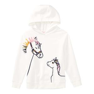 Mädchen-Kapuzenpullover mit Pferde-Motiv