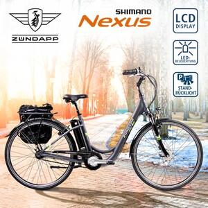 Alu-Elektro-Fahrrad Green 3.7 26er oder 28er - Fahrunterstützung bis ca. 25 km/h, 5 Unterstützungsstufen - Li-Ionen-Akku 36 V/10,4 Ah, 374 Wh - Reichweite: bis zu 115 km (je nach Fahrweise) - Shima
