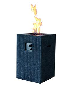 Modeno Gas Feuerstelle Mayon in dunkler Natursteinoptik aus Faserbeton