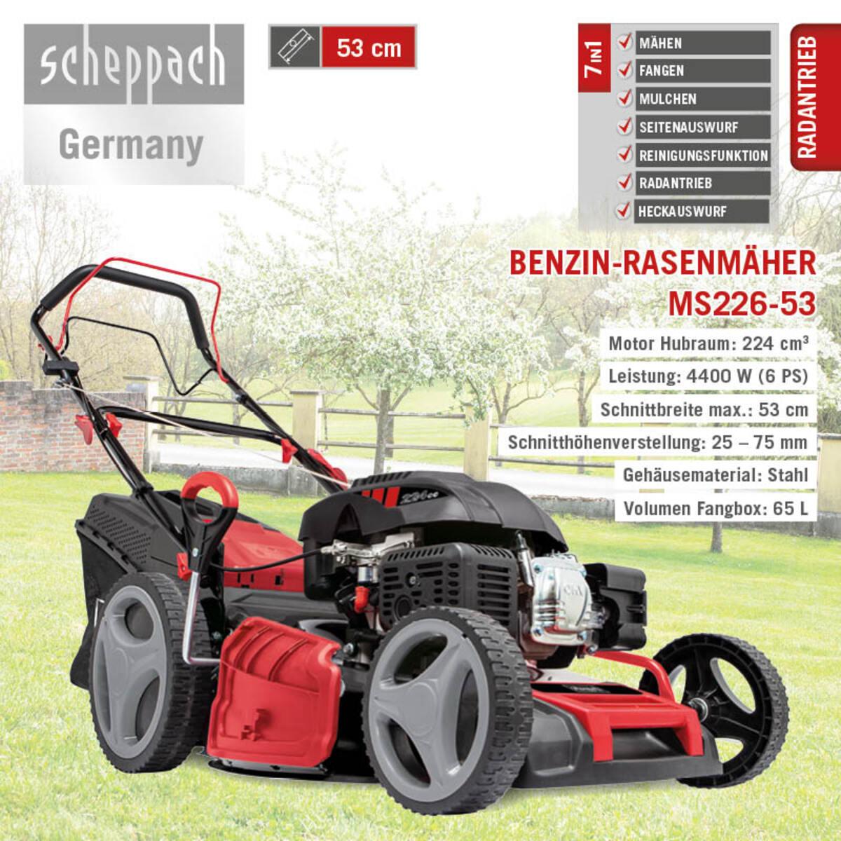 Bild 2 von Scheppach 6 in 1 Benzin-Rasenmäher MS226-53 SE