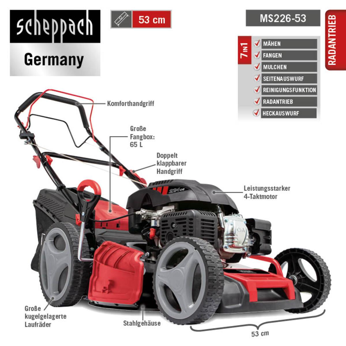 Bild 3 von Scheppach 6 in 1 Benzin-Rasenmäher MS226-53 SE