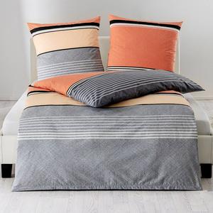 DREAMTEX Edel-Renforcé-Bettwäsche, ca. 135 x 200 cm - Orange Blocks