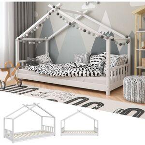 VitaliSpa® Kinderbett Design Hausbett Kinder Bett Holz Haus 90x200cm Weiß