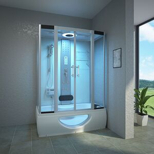TroniTechnik Komplettdusche Duschtempel Badewanne Wanne Duschkabine Dusche TINOS 135x80