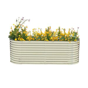 Powertec Garden Stahl Oval Hochbeet XL - Silber