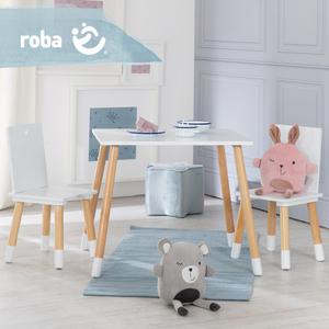roba Kinder Sitzgruppe, Kindermöbel Set aus 2 Kinderstühlen & 1 Tisch, Holz, weiß lackiert