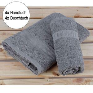 Handtuch-Set aus Baumwolle 8-teilig Hellgrau