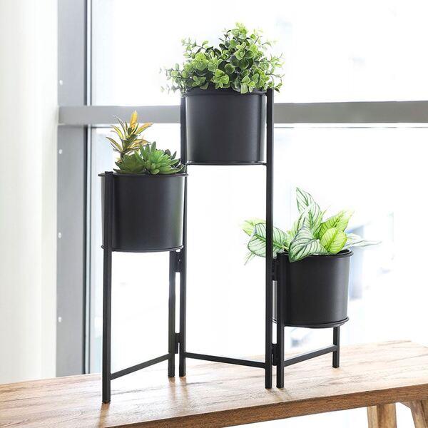 Faltbarer Metall-Blumenständer mit 3 Pflanztöpfen Schwarz