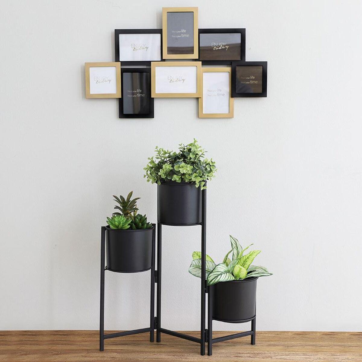 Bild 2 von Faltbarer Metall-Blumenständer mit 3 Pflanztöpfen Schwarz