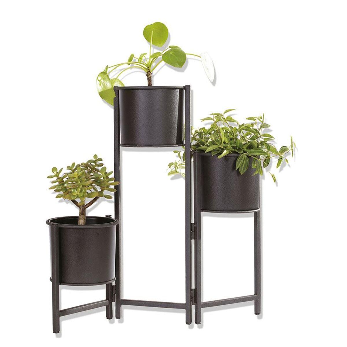 Bild 3 von Faltbarer Metall-Blumenständer mit 3 Pflanztöpfen Schwarz
