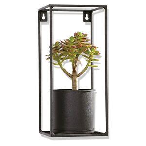 Metall-Blumenregal mit Pflanzgefäß 13,5x30x13,5cm Schwarz