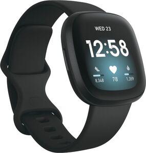 Fitbit Versa 3, Aluminium, schwarzes Armband