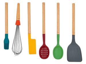 ERNESTO® Küchenhelfer, 6-teilig, aus Silikon und Holz