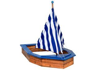 dobar Sandkasten Schiff, mit Segel, Truhe als Aufbewahrungsmöglichkeit, aus Kiefernholz