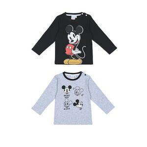 Baby Lizenz Langarm T-shirt , 2er Pack für Jungen, Mickey Mouse, Gr. 62/68