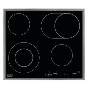 Dieter Knoll Glaskeramikkochfeld dkev6646xb , Dkev6646Xb , Schwarz, Edelstahlfarben , Metall, Glas , 57.6x4.0x50.6 cm , Kindersicherung, Restwärmeanzeige je Kochzone, Kurzzeitwecker , 000606000502