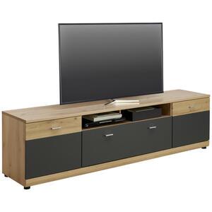 Carryhome Tv-element graphitfarben, eichefarben , Loft Line , Holzwerkstoff , 2 Fächer , 1 Schubladen , 180x78x44 cm , matt, Lacklaminat,matt,Nachbildung , Kabeldurchlass , 002737026901