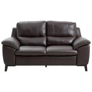 Celina Home Zweisitzer-sofa echtleder dunkelbraun , U255 -Exklusiv- , Leder , 2-Sitzer , 174x97x95 cm , pigmentiert , Typenauswahl, Lederauswahl, Rücken echt , 000306004504