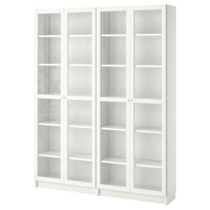 BILLY / OXBERG Bücherregal, weiß/Glas