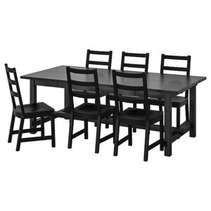 NORDVIKEN / NORDVIKEN Tisch und 6 Stühle, schwarz/schwarz