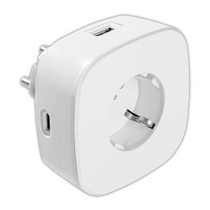 Powertec Electric 2-fach USB + 1-fach USB-C Steckdosenadapter