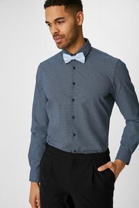 C&A Businesshemd-Slim Fit-Button-down-gepunktet, Blau, Größe: S