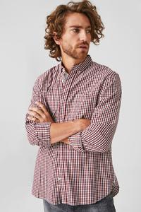 C&A Hemd-Regular Fit-Button-down-Bio-Baumwolle-kariert, Weiß, Größe: S