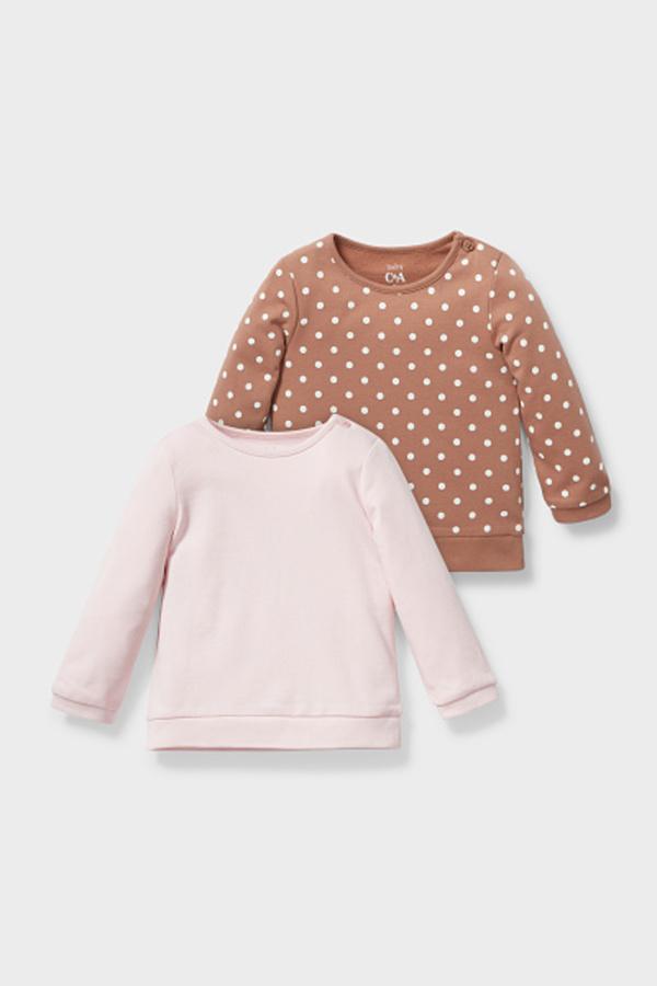 C&A Baby-Sweatshirt-Bio-Baumwolle-2er Pack, Rosa, Größe: 74