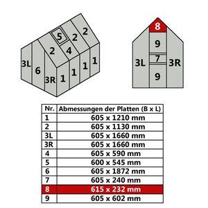 Hohlkammerstegplatte 61,5 x 23,2 cm