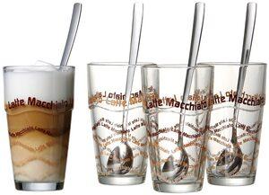 Ritzenhoff & Breker Latte-Macchiato-Glas (4-tlg), inkl. 4 Longdrinklöffel
