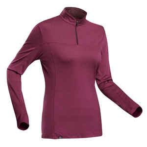 Langarmshirt Bergtrekking Trek 500 Zip Merino Damen violett