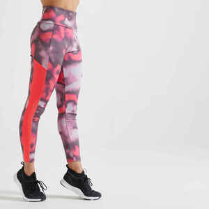Leggings Fitness Cardio Damen mit Print rosa
