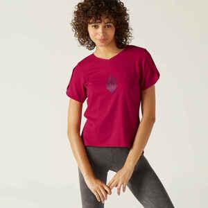 T-Shirt aus dehnbarer Baumwolle Fitness kaschierend Damen pink mit Motiv