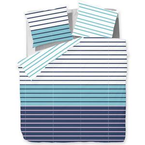 Esprit Bettwäsche satin grau, türkis, weiß, dunkelblau , E-Jaimie , Textil , Streifen , 200x200 cm , Satin , angenehm wärmend, samtiger Griff , 003021101702