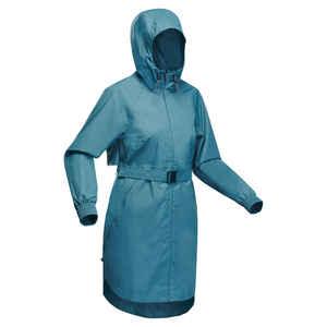 Regenjacke Lang Raincut Naturwandern Wasserdicht Damen blau