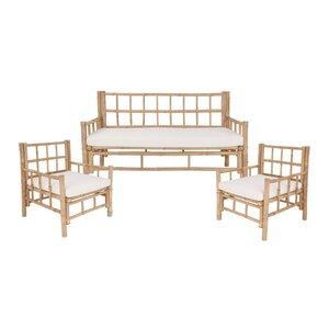 LOMBOK Sofa & 2 Sesseln mit Sitzkissen