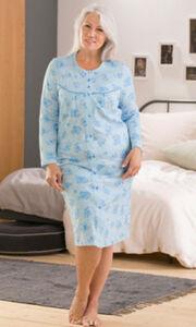 Comtessa Single-Jersey Damen-Nachthemd  Blumen#gemustert langarm 36 / 38