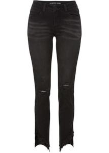 Skinny Jeans mit offenem Saum