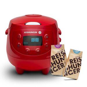 Digitaler Mini Reiskocher Bundle, 350W, 0,6l Rot Bundle, Bio